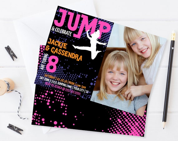 Twin Jump Party Photo Invitation - Trampoline Party,Jump & Play, Bounce On Over | Self-Edit with CORJL INSTANT DOWNLOAD Printable Template