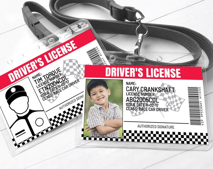 Race Car Driver's License - ID Badge, Cars Birthday Party Favor | Self-Editing with CORJL - INSTANT Download Printable
