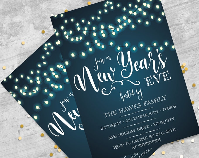 New Year's Invitation - New Year's Eve Party - New Years | Self-Editing with CORJL - INSTANT DOWNLOAD Printable