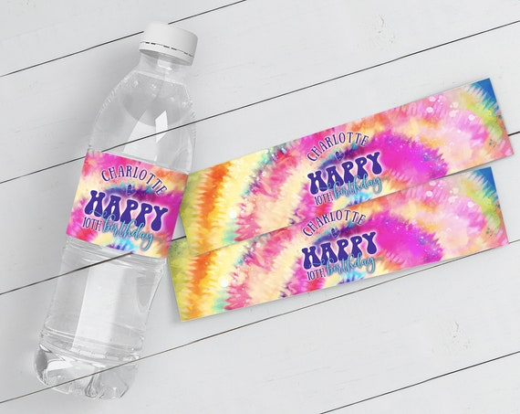 Tie Dye Party Water Bottle Wrap/Label - Hippie Birthday Party Drink Label | Self-Edit with CORJL - INSTANT DOWNLOAD Printable Template