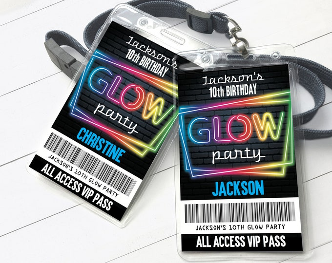 Neon Glow Party VIP Badge, Neon Glow Theme, Glow Party All Access Pass | Self-Editing with CORJL - INSTANT Download Printable