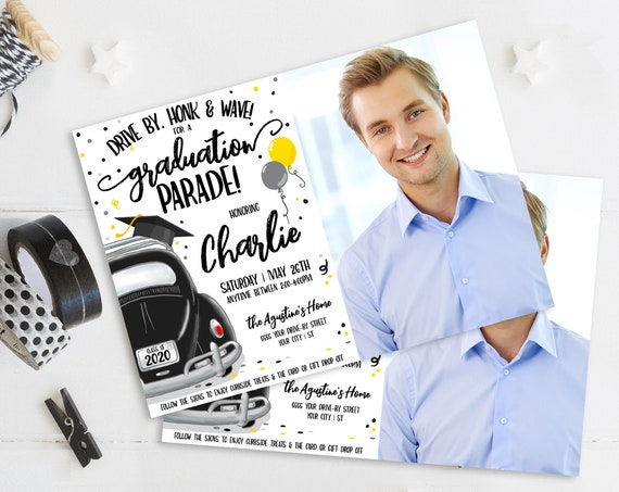 Drive By Graduation Photo Invitation-Drive By Parade,Quarantine,Social Distancing | Self-Edit with CORJL - INSTANT DOWNLOAD Printable