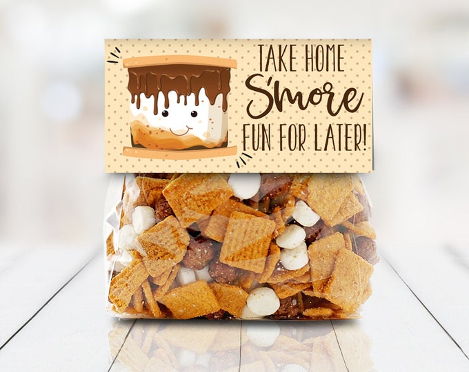 "S'more Party Favor Bag Topper - Take Home S'more For Later S'more 4"" Treat Topper 