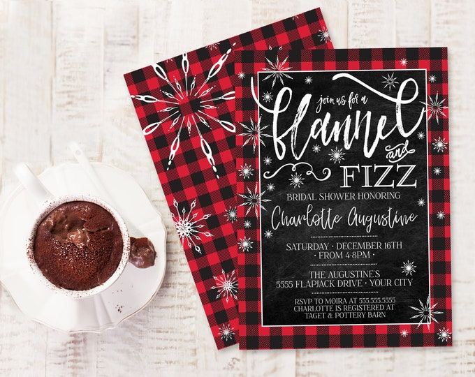 Flannel & Fizz Invitation - Buffalo Plaid Bridal Shower, Christmas Bridal Shower | Self-Editing with CORJL - INSTANT DOWNLOAD Printable