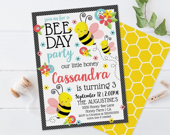 Bee Day Party Invitation - Our little Honey, Bee-Day, Bumble Bee Birthday | Self-Edit with CORJL-INSTANT DOWNLOAD Printable Template