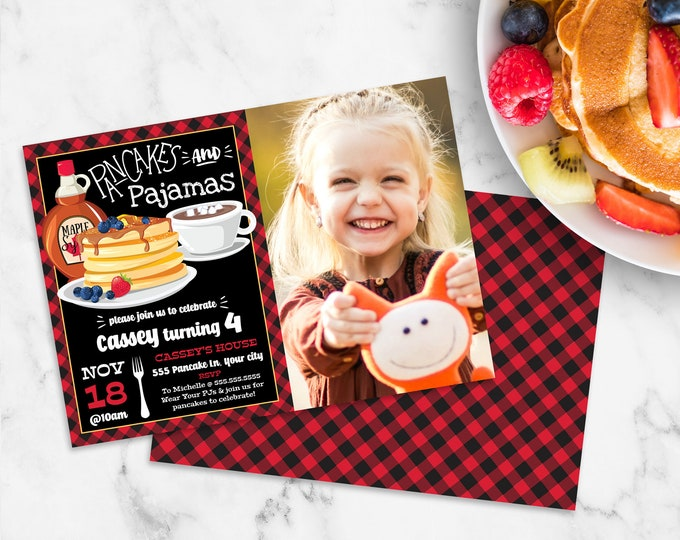 Pancakes & Pajamas PHOTO Invitation - Pancake Birthday Party, Buffalo Plaid Breakfast | Self-Editing with CORJL - INSTANT Download Printable