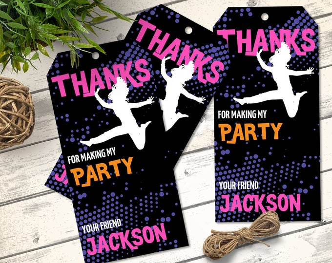Jump Party Tags - Trampoline Favor Tag, Jump & Play, Bounce On Over, Favor Tag   Self-Edit with CORJL - INSTANT DOWNLOAD Printable