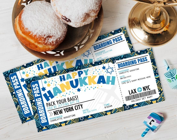 Hanukkah Boarding Pass Ticket - Surprise Trip Reveal, Flight, Holiday Fake Plane Ticket | Self-Edit with CORJL - INSTANT DOWNLOAD Printable