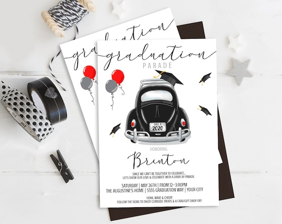 Graduation Parade Invitation -Drive By Celebration,Quarantine,Social Distancing | Self-Edit with CORJL - INSTANT DOWNLOAD Printable Template