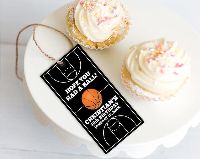 Basketball Favor Tag - Basketball Party, Basketball Birthday, Thank You Tag   Self-Editing with CORJL - INSTANT Download Printable