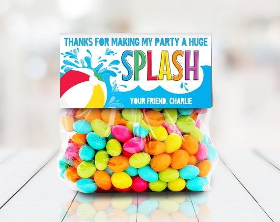 Pool Party Treat Bag Topper - Party Favors, Favor Bag, Thank You,Splish Splash  | Self-Edit with CORJL - INSTANT DOWNLOAD Printable Template