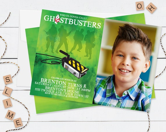 Ghost-buster PHOTO Invitation - Birthday Party, Slime Party, Halloween   Self-Edit with CORJL - INSTANT Download Printable Template