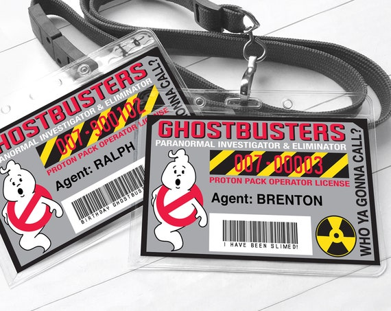 Ghost-buster Badges - Ghostbuster I.D. Badge,Ghostbusters Birthday Party Favor | Self-Edit with CORJL - INSTANT Download Printable Template