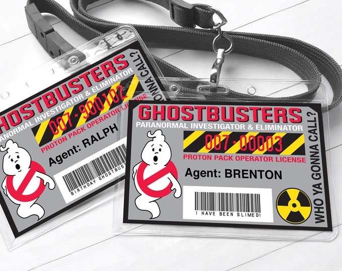 Ghost-buster Badges - Ghostbuster I.D. Badge,Ghostbusters Birthday Party Favor | Self-Editing with CORJL - INSTANT Download Printable