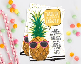 Pineapple Thank You Card - Pineapple Party, Party Like a Pineapple, Hawaiian, Luau   Self-Edit with CORJL - INSTANT Download Printable