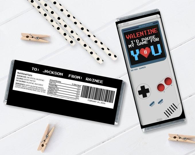 Valentine Gamer Candy Bar Label/Wrapper - I'd Pause My Game For You, Game Boy Inspired   Self-Edit with CORJL - INSTANT Download Printable