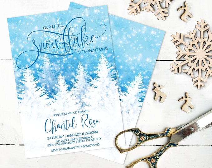 Our Little Snowflake Birthday Invitation, First Birthday, Winter Birthday Invite |  Self-Editing with CORJL - INSTANT DOWNLOAD Printable