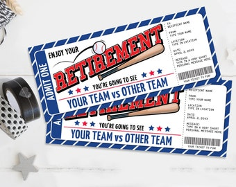 Retirement Baseball Ticket Gift Editable Template - Surprise Baseball Ticket   Self-Edit with CORJL - INSTANT DOWNLOAD Printable
