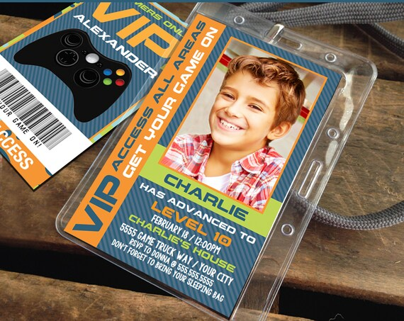 Video Gamer VIP I.D. Badge Invitation - Photo Gamer Party Invite, Party Favor,Game Truck | Self-Edit with CORJL - INSTANT Download Printable