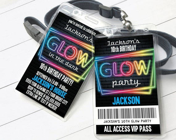 Neon Glow Invitation Party Badge, Neon Glow VIP Badge, Glow Party Invite | Self-Edit with CORJL - INSTANT Download Printable Template