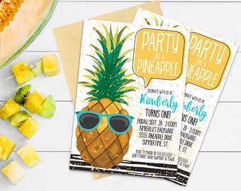 Pineapple Party Invitation - Party Like a Pineapple, Hawaiian Luau, Birthday   Self-Edit with CORJL - INSTANT DOWNLOAD Printable Template