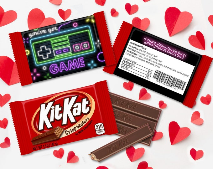 Valentine You've Got Game Neon NES Controller Kit Kat Candy Wrap/Label, Video Gamer | Self-Edit with CORJL - INSTANT Download Printable
