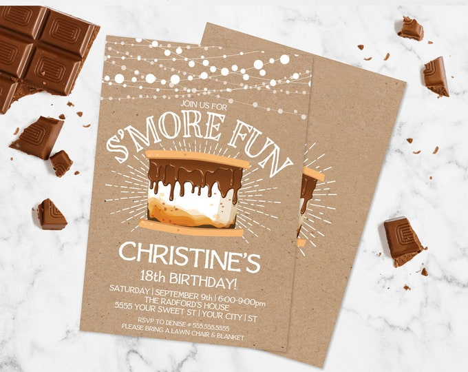 S'more Party Invitation - S'more Fun Birthday Invite, Bonfire Party | Self-Edit with CORJL - INSTANT DOWNLOAD Printable Template
