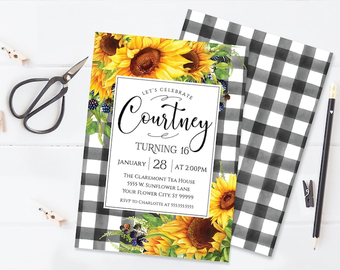 Sunflower Plaid Birthday Invitation, Boho, Watercolor, Birthday Invite | Self-Edit with CORJL - INSTANT DOWNLOAD Printable Template