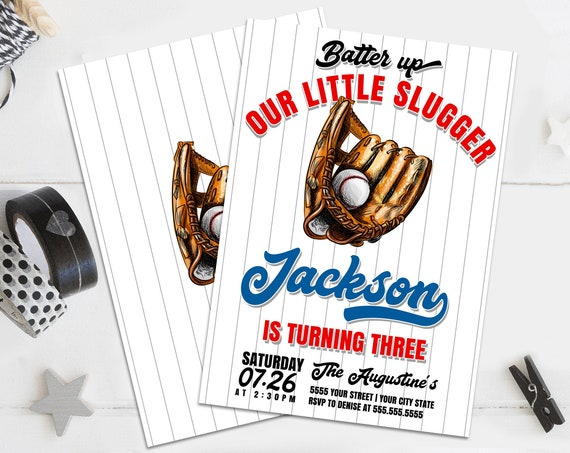 Baseball Party Invitation - Little Slugger, Batter Up, Softball Invite, Swing On Over | Self-Edit with CORJL - INSTANT DOWNLOAD Printable