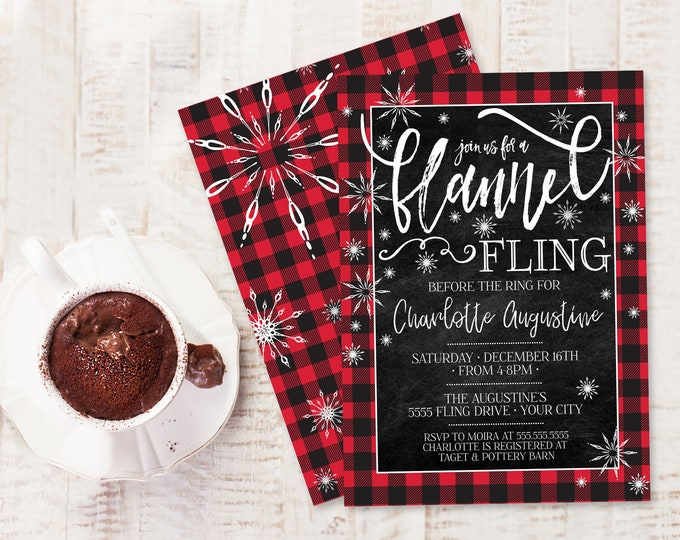 Flannel Fling Before the Ring Bridal Shower Invitation - Buffalo Plaid Shower | Self-Editing with CORJL - INSTANT DOWNLOAD Printable