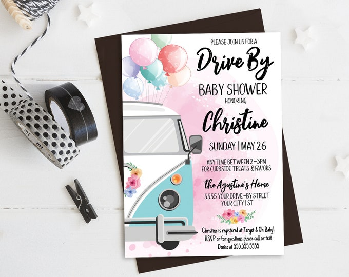 Drive By Baby Shower Invitation-Drive Thru Parade,Quarantine,Social Distancing | Self-Edit with CORJL-INSTANT DOWNLOAD Printable Template