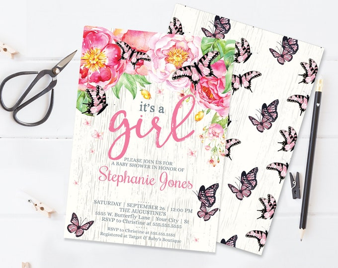 It's A Girl Butterfly Baby Shower Invitation - Butterfly Shower, Spring, Garden Party | Self-Editing with CORJL - INSTANT DOWNLOAD Printable