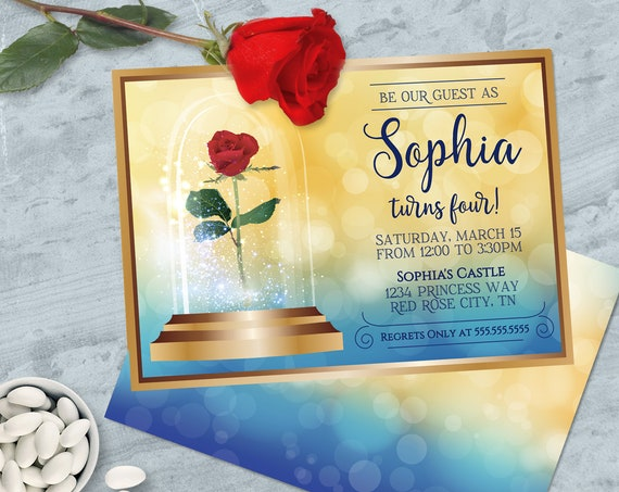 Beauty & the Beast Invitation - Belle Birthday Party, Beauty Birthday | Self-Edit with CORJL - INSTANT DOWNLOAD Printable Template