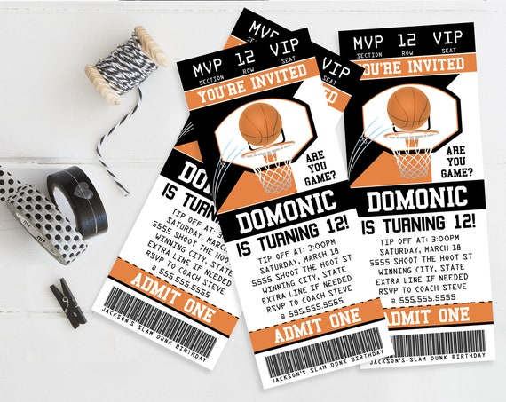 Basketball Ticket Invitation - Basketball Birthday Party, Ticket Invite   Self-Edit Text with CORJL - INSTANT Download Printable