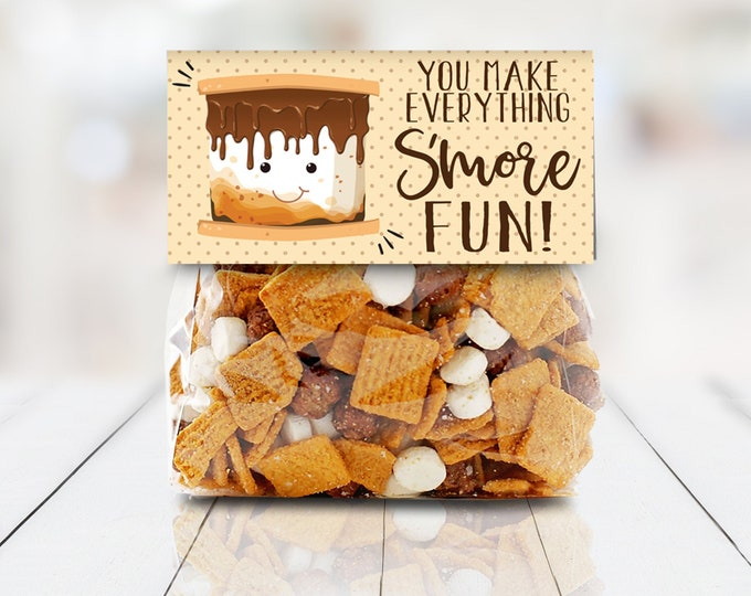 "S'more Party Favor Bag Topper - You Make Everything S'more Fun, S'more 4"" Treat Topper 