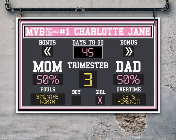 "Baby Shower Scoreboard Printable 24""x36"" Poster - Scoreboard Sign, Baby Scoreboard | Self-Edit with CORJL - INSTANT Download Printable"