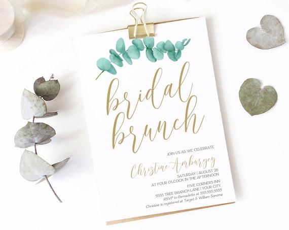 Eucalyptus Bridal Brunch Invitation, Greenery Shower Invite, Corjl, Bridal Shower   Self-Editing with CORJL - INSTANT DOWNLOAD Printable