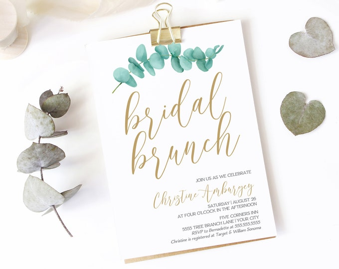 Eucalyptus Bridal Brunch Invitation, Greenery Shower Invite, Corjl, Bridal Shower | Self-Editing with CORJL - INSTANT DOWNLOAD Printable
