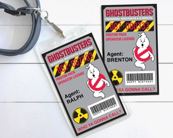 Ghost-buster Badges - Ghost-buster ID Badge,Ghostbusters Birthday Party Favor | Self-Edit with CORJL - Instant Download Printable Template