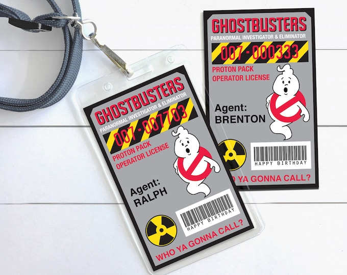 Ghost-buster Badges - Ghost-buster I.D. Badge,Ghostbusters Birthday Party Favor | Self-Editing with CORJL - INSTANT Download Printable