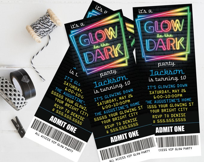 Neon Glow Party Ticket Invitation - Neon Glow Birthday, Glow Party Theme, blue | Self-Editing with CORJL - INSTANT DOWNLOAD Printable