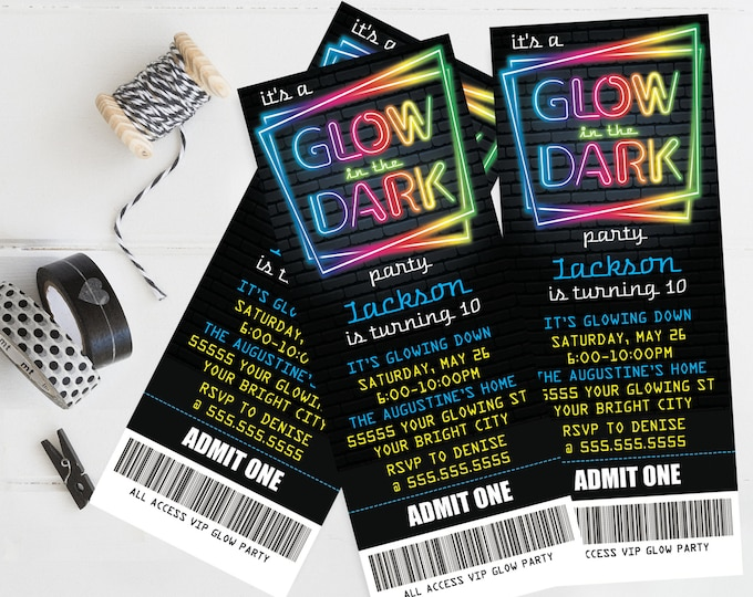 Neon Glow Party Ticket Invitation - Neon Glow Birthday, Glow Party Theme, blue | Self-Edit with CORJL - INSTANT DOWNLOAD Printable Template