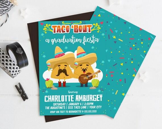 Taco 'bout... a Graduation Fiesta Party Invitation - Cinco De Mayo, Fiesta BirthdayParty | Self-Edit with CORJL - INSTANT DOWNLOAD Printable