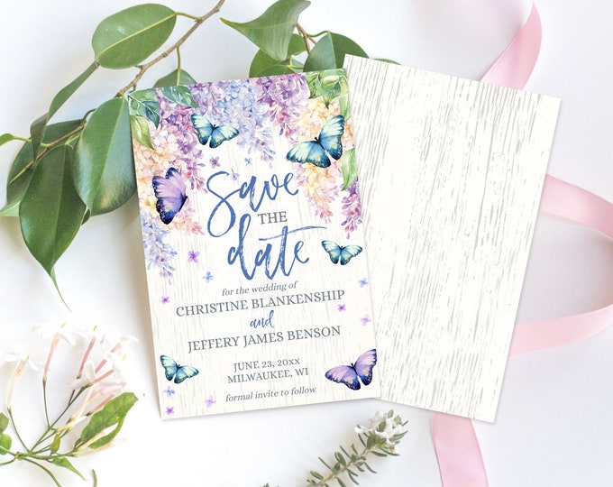 Save the Date Template, Butterflies & Lilac Wedding, Wedding Printable, Template | Self-Editing with CORJL - INSTANT DOWNLOAD Printable