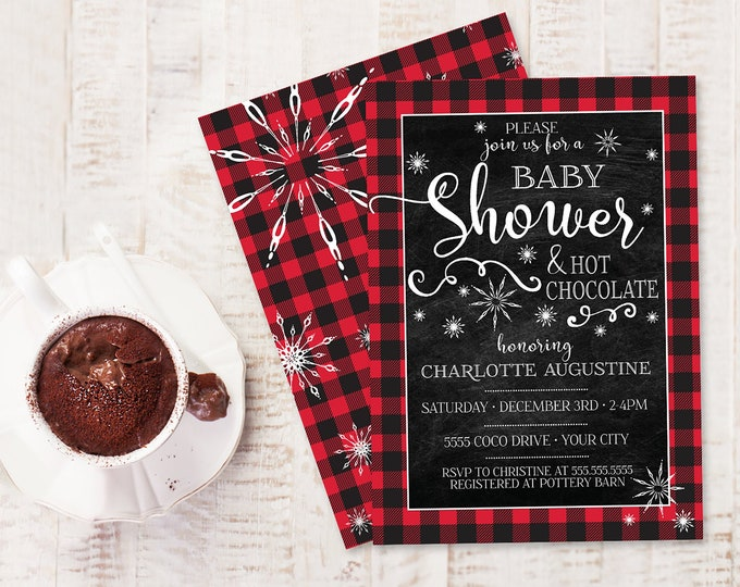 Baby Shower Buffalo Plaid Invite - Lumberjack Baby Shower, Winter Shower  | Self-Edit with CORJL - INSTANT DOWNLOAD Printable