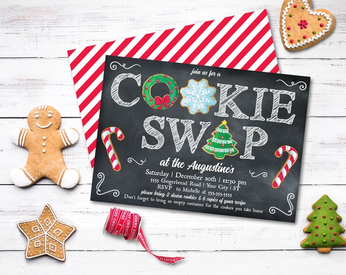 Cookie Swap Party Invitation - Cookie Party, Holiday Cookie Party, Cookie Exchange | Self-Edit with CORJL - INSTANT DOWNLOAD Printable