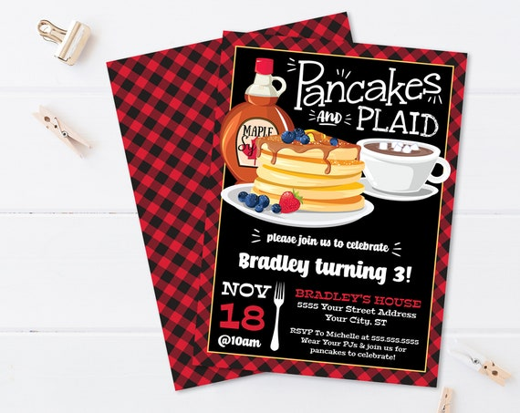 Pancakes & Plaid Invitation - Lumberjack Party, Lumberjack Party, Pancake Party   Self-Edit with CORJL - INSTANT DOWNLOAD Printable