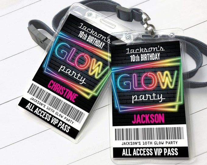 Neon Glow Party VIP Badge, Neon Glow Theme, Glow Party All Access Pass | Self-Edit with CORJL - INSTANT Download Printable Template