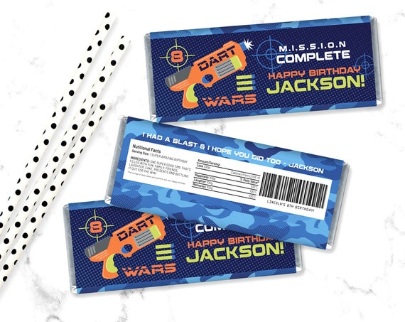 Dart Wars Candy Wrap/Label, Dart Wars Party, Target Party, Candy Bar Label | Self-Editing with CORJL - INSTANT Download Printable