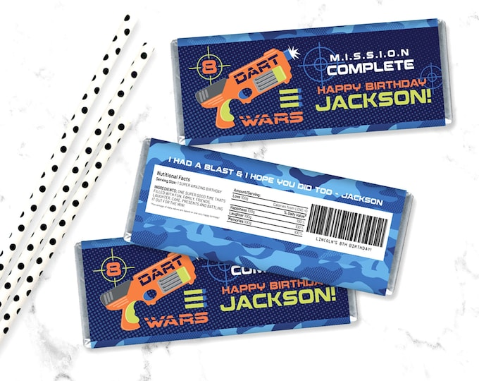 Dart Wars Candy Wrap/Label, Dart Wars Party, Target Party, Candy Bar Label   Self-Editing with CORJL - INSTANT Download Printable